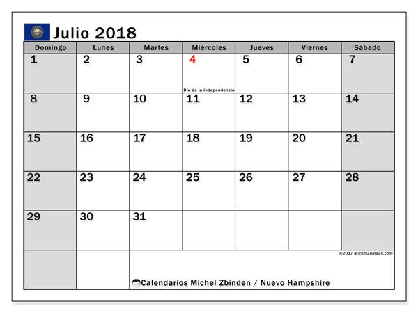 Calendario julio 2018, con los días feriados de Nuevo Hampshire. Calendario imprimible gratis.