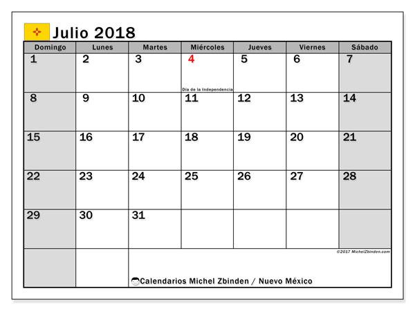 Calendario julio 2018, con los días feriados en Nuevo México. Calendario para el mes para imprimir gratis.