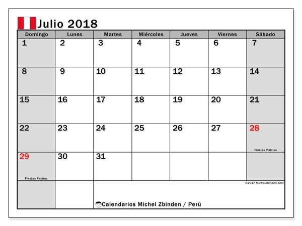 Calendario julio 2018, con los días feriados para Perú. Almanaque para imprimir gratis.