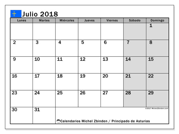 Calendario julio 2018, con los días festivos del Principado de Asturias. Almanaque para imprimir gratis.