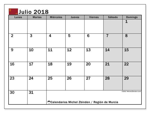 Calendario julio 2018, con los días festivos en la Región de Murcia. Calendario para imprimir gratis.