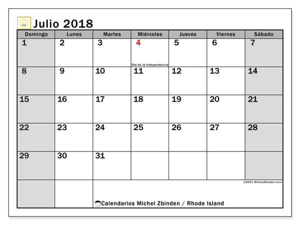 Calendario julio 2018, con los días feriados en Rhode Island. Calendario para el mes para imprimir gratis.