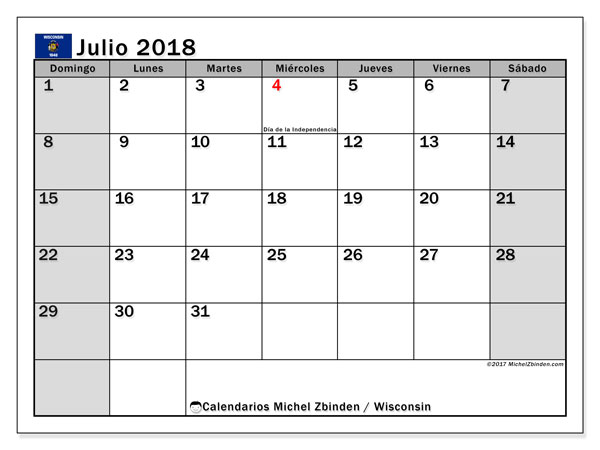 Calendario julio 2018, con los días feriados en Wisconsin. Calendario mensual para imprimir gratis.