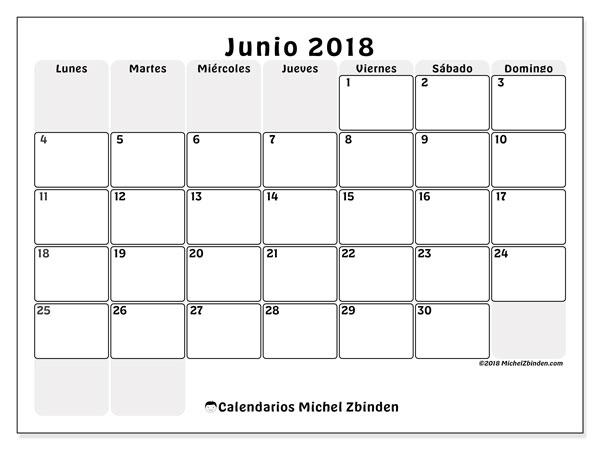 Calendario junio 2018 (44LD). Calendario para el mes para imprimir gratis.