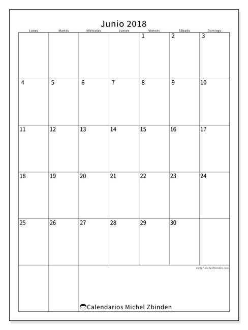 Calendario junio 2018 (52LD). Almanaque para imprimir gratis.