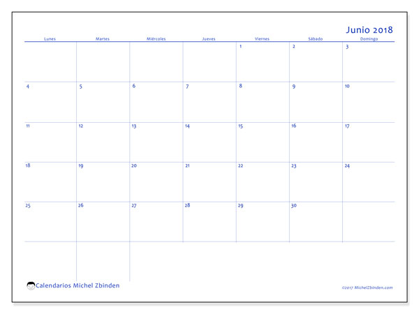 Calendario junio 2018 (55LD). Calendario para el mes para imprimir gratis.