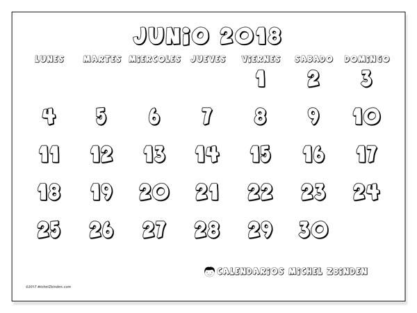 Calendario junio 2018 (56LD). Calendario imprimible gratis.