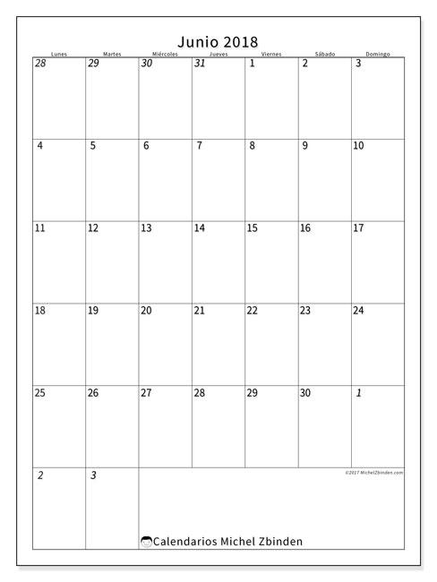 Calendario junio 2018 (68LD). Calendario mensual para imprimir gratis.