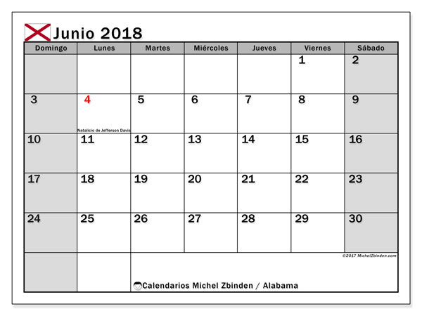Calendario Alabama, junio 2018