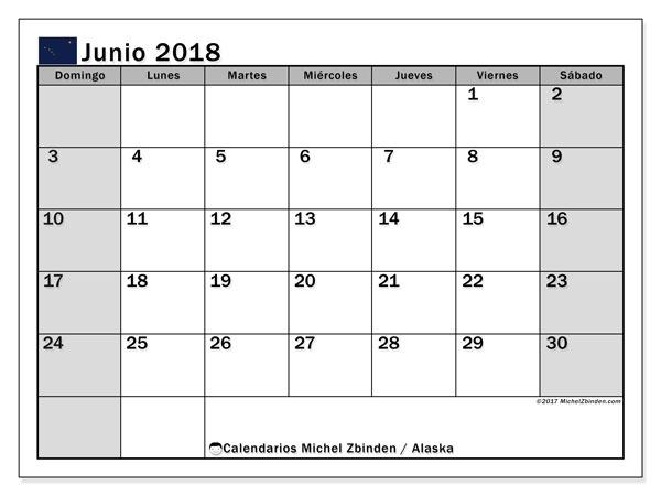 Calendario junio 2018, con los días feriados en Alaska. Calendario mensual para imprimir gratis.