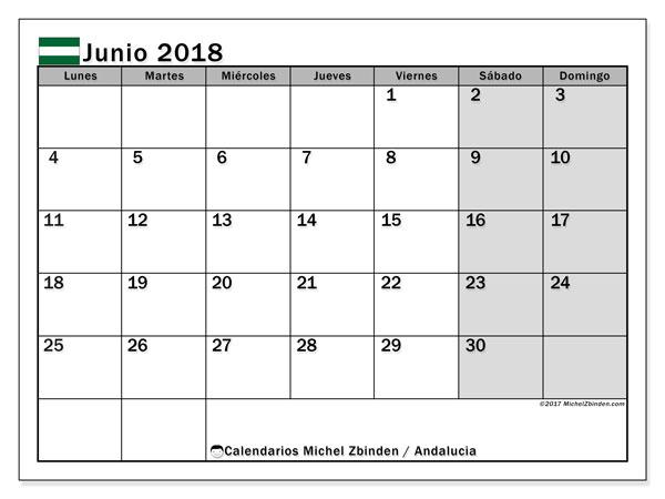 Calendario junio 2018, con los días festivos de Andalucia. Calendario mensual para imprimir gratis.