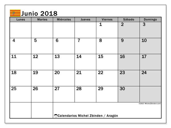Calendario junio 2018, con los días festivos de Aragón. Calendario para el mes para imprimir gratis.