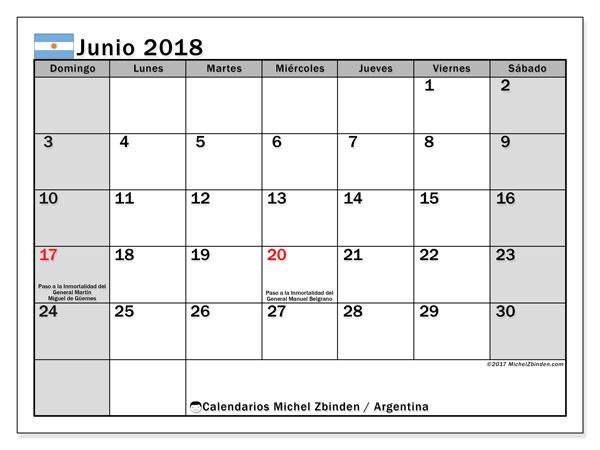 Calendario junio 2018, con los días feriados en Argentina. Almanaque para imprimir gratis.