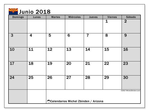 Calendario Arizona, junio 2018
