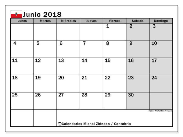 Calendario junio 2018, con los días festivos de Cantabria. Calendario para imprimir gratis.