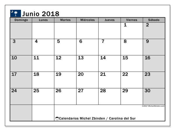 Calendario Carolina del Sur, junio 2018