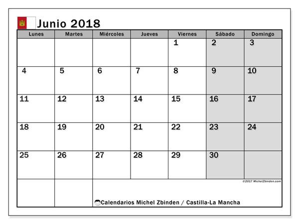 Calendario junio 2018, con los días festivos de Castilla-La Mancha. Planificación para imprimir gratis.
