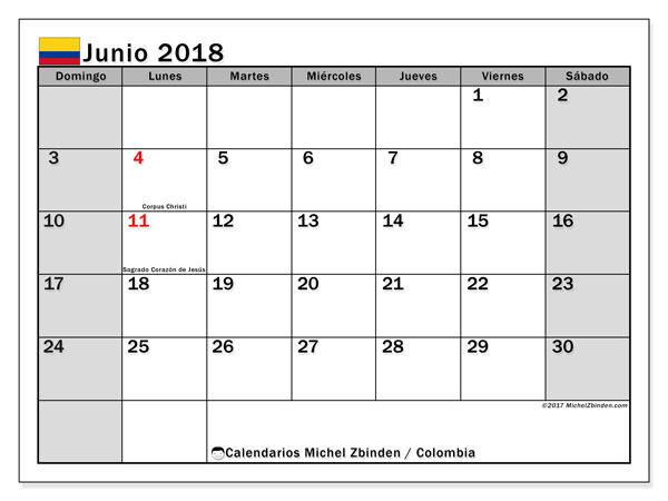 Calendario junio 2018, con los días festivos en Colombia. Calendario mensual para imprimir gratis.