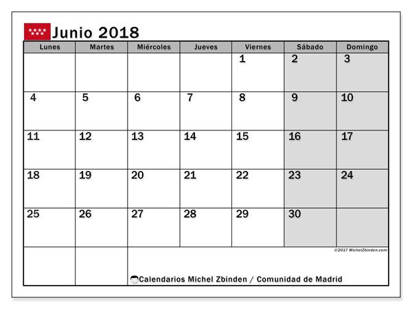 Calendario junio 2018, con los días festivos de la Comunidad de Madrid. Calendario mensual para imprimir gratis.