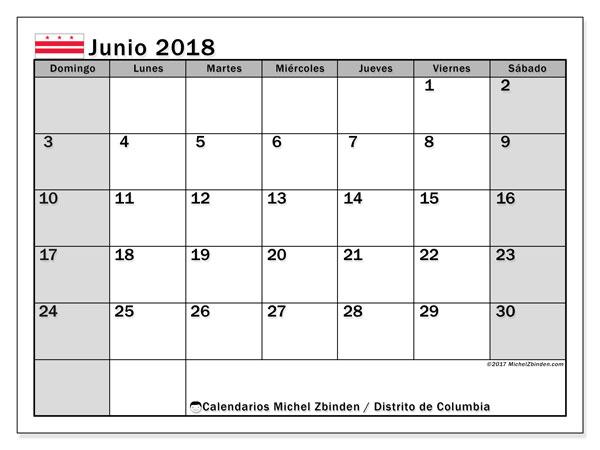 Calendario junio 2018, con los días feriados del Distrito de Columbia. Planificación para imprimir gratis.