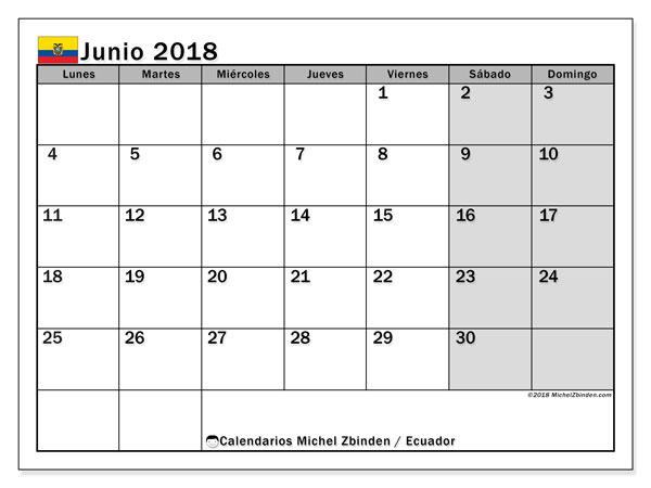Calendario junio 2018, con los días feriados para Ecuador. Almanaque para imprimir gratis.