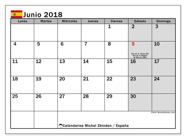 Calendario junio 2018, con los días festivos de España. Calendario imprimible gratis.