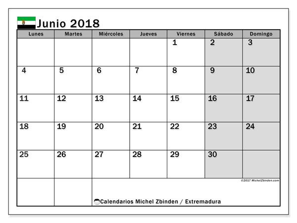 Calendario junio 2018, con los días festivos de Extremadura. Calendario mensual para imprimir gratis.