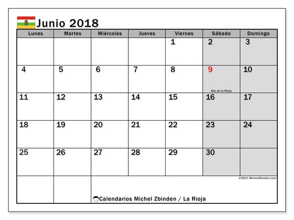 Calendario junio 2018, con los días festivos de La Rioja. Calendario gratuito para imprimir.