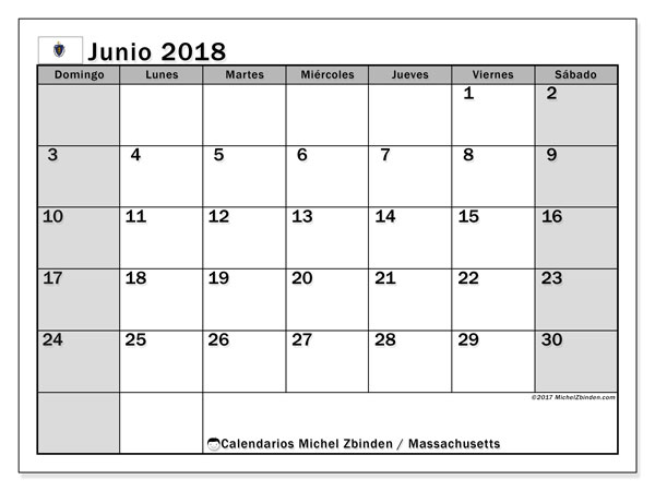 Calendario Massachusetts, junio 2018