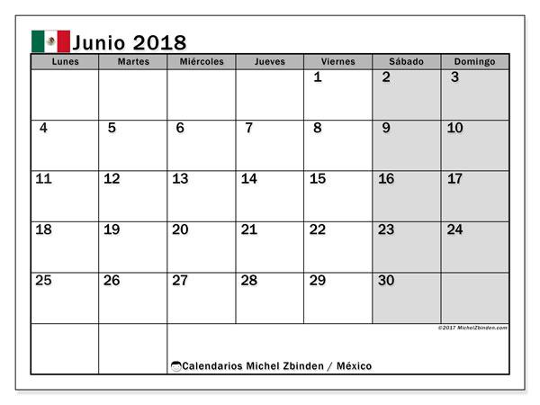 Calendario junio 2018, con los días feriados en México. Calendario para el mes para imprimir gratis.