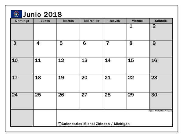 Calendario junio 2018, con los días feriados en Míchigan. Calendario mensual para imprimir gratis.