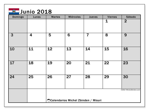 Calendario Misuri, junio 2018