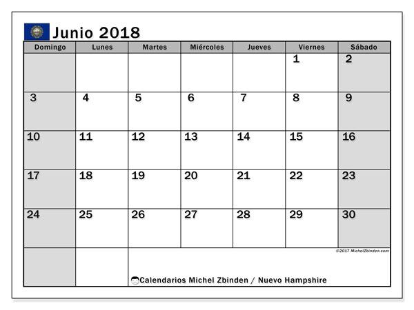 Calendario junio 2018, con los días feriados de Nuevo Hampshire. Calendario para imprimir gratis.