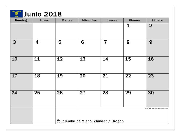 Calendario Oregón, junio 2018