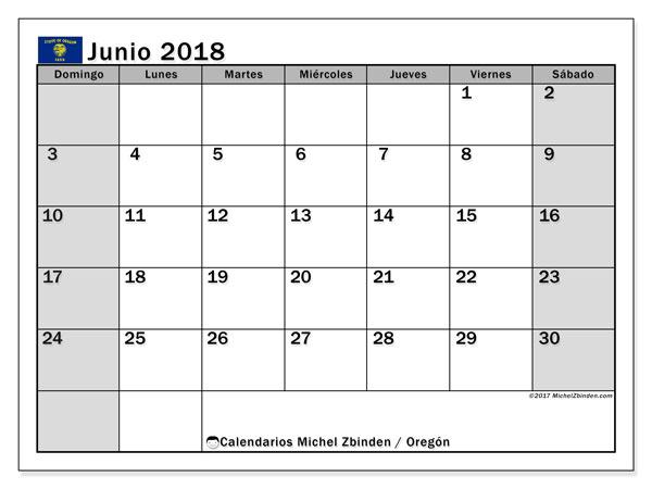 Calendario junio 2018, con los días feriados en Oregón. Calendario imprimible gratis.