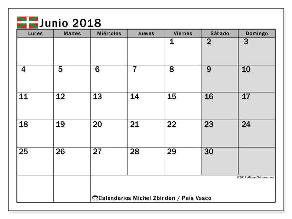 Calendario junio 2018, con los días festivos del País Vasco. Planificación para imprimir gratis.