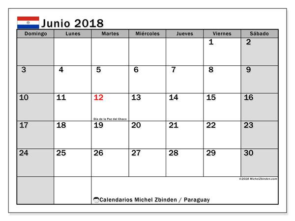 Calendario junio 2018, con los días feriados en Paraguay. Almanaque para imprimir gratis.