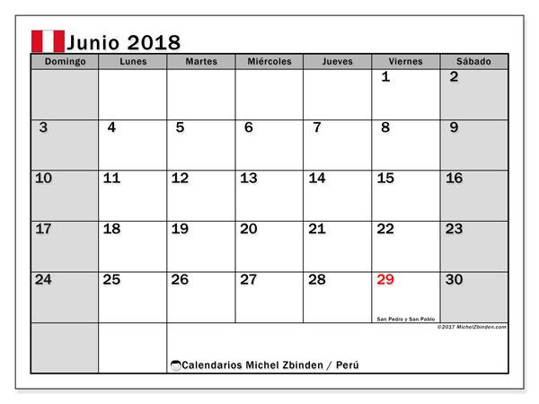 Calendario junio 2018, con los días feriados para Perú. Calendario para imprimir gratis.