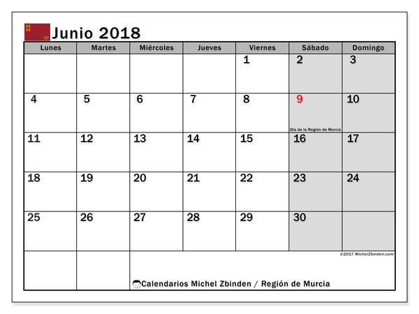 Calendario junio 2018, con los días festivos en la Región de Murcia. Calendario para el mes para imprimir gratis.