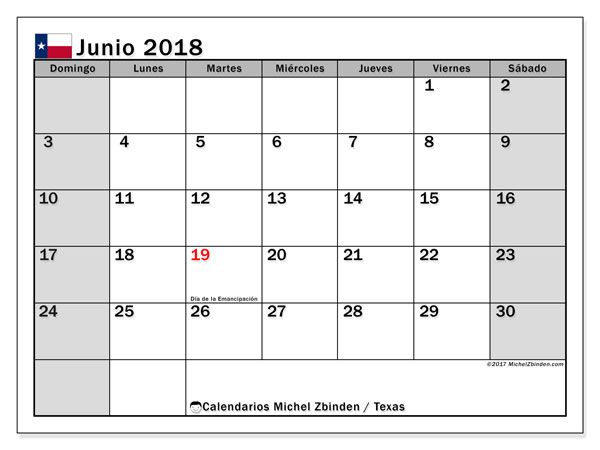 Calendario junio 2018, con los días feriados en Texas. Calendario gratuito para imprimir.