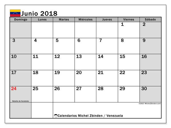 Calendario junio 2018, con los días feriados para Venezuela. Calendario para imprimir gratis.