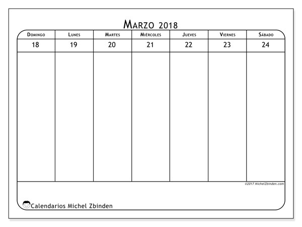 Calendario marzo 2018 (43-4DS). Almanaque para imprimir gratis.