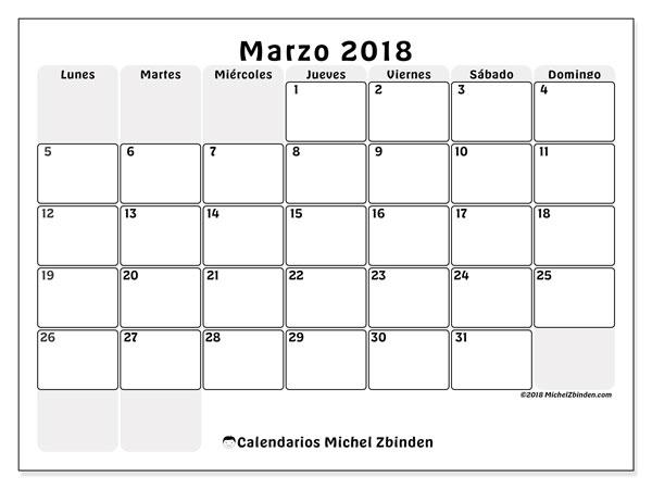 Calendario marzo 2018 (44LD). Planificación para imprimir gratis.