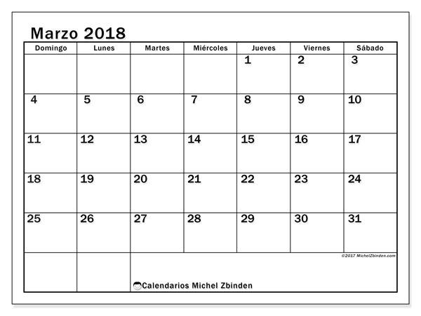 Calendario marzo 2018 (50DS). Calendario para el mes para imprimir gratis.