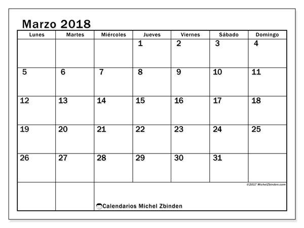 Calendario marzo 2018 (50LD). Planificación para imprimir gratis.