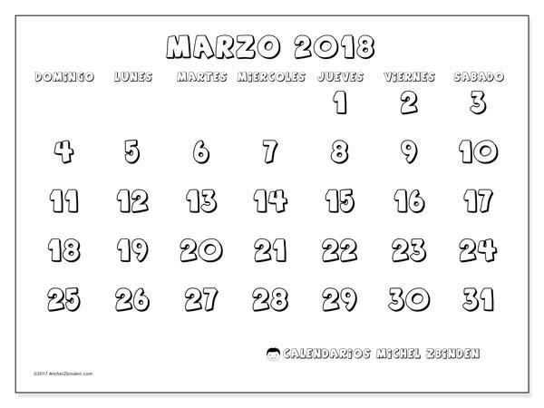 Calendario marzo 2018 (56DS). Calendario imprimible gratis.