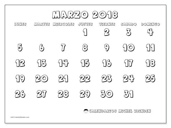 Calendario marzo 2018 (56LD). Calendario para imprimir gratis.