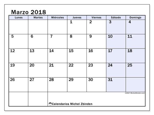 Calendario marzo 2018 (57LD). Planificación para imprimir gratis.