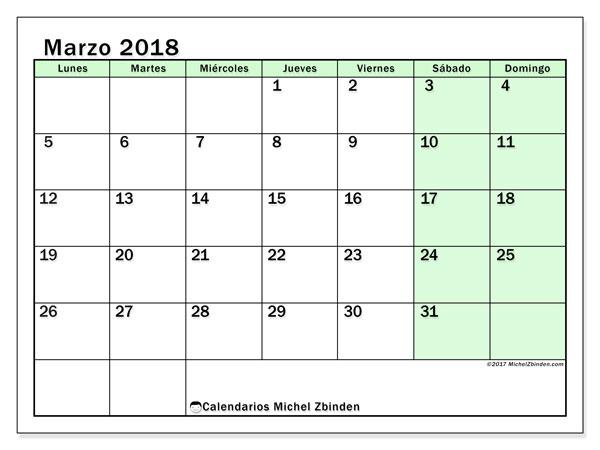Calendario marzo 2018 (60LD). Calendario mensual para imprimir gratis.