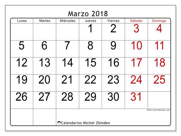 Calendario marzo 2018 (62LD). Calendario mensual para imprimir gratis.